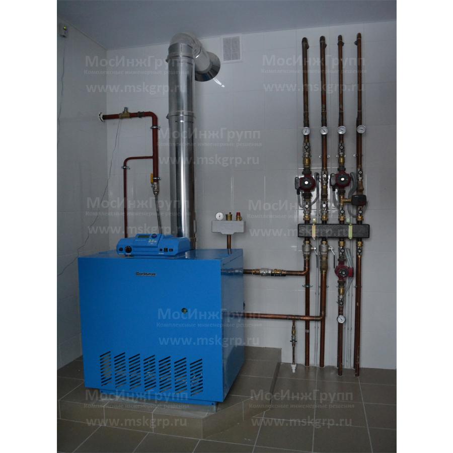 Установка напольного газового котла Buderus