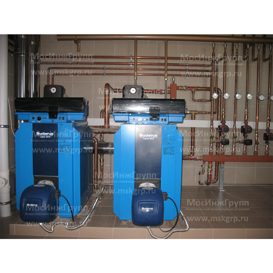 Установка напольных газовых котлов Buderus